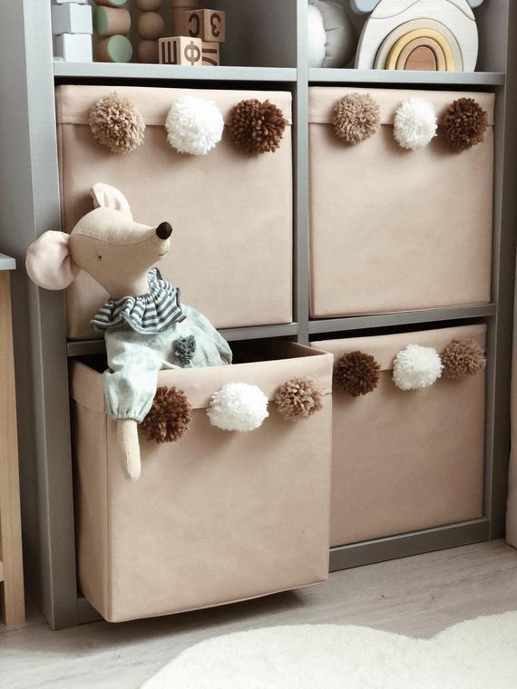 Fabric Toy Storage Box with pompons. Pompom Kallax Bin. Kallax Basket