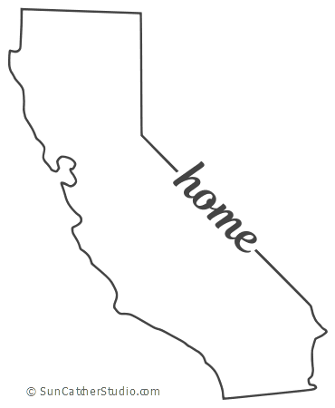 California Map Outline Printable State Shape Stencil Pattern California Map California Outline California State Outline