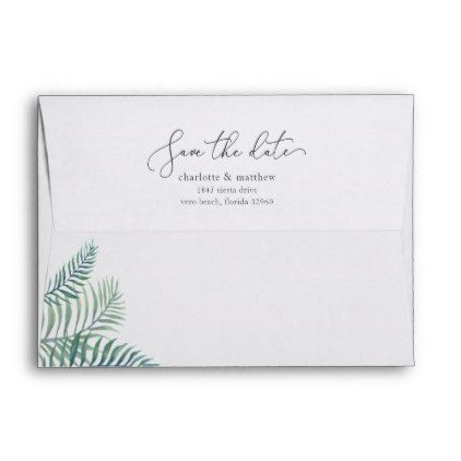 tropical foliage save the date 5x7 return address envelope return
