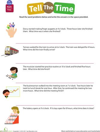Telling Time Word Problems Worksheet Education Com Word Problems Time Word Problems Word Problem Worksheets