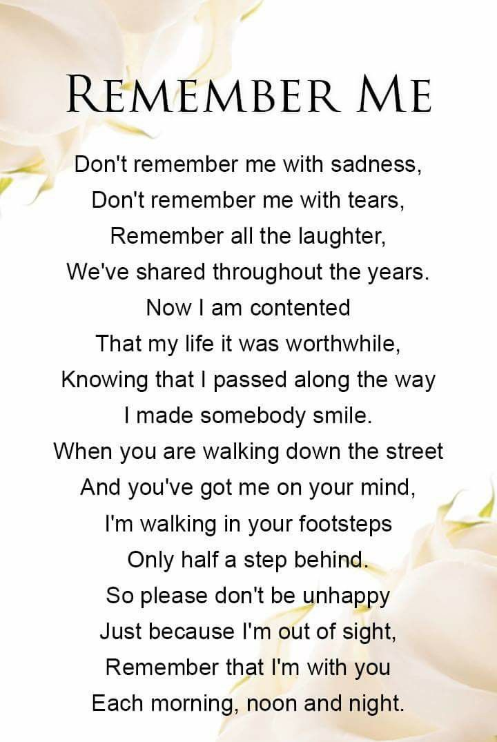 A Beautiful Wee Remembrance Poem For That Someone We Wish Was