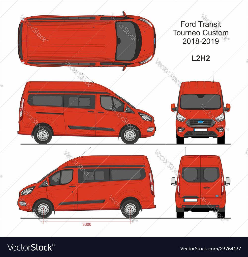 Ford Transit Tourneo Custom Van L2h2 2018 2019 Vector Image