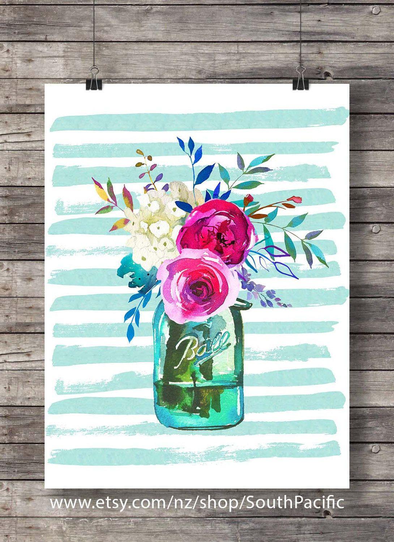 Spring watercolor flowers bouquet print printable art watercolor decor art print mason jar floral printable wall art watercolor stripes
