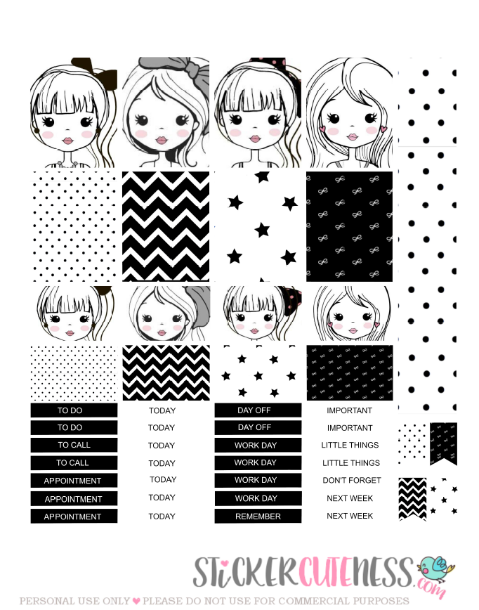 Free Printable Cute Girl Planner Stickers from