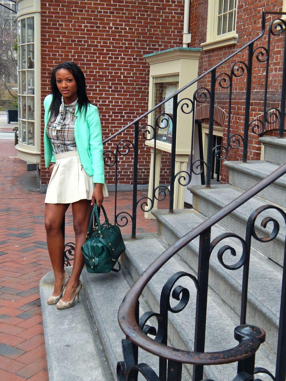 Blazer:Mandee,Shirt:Charlotte Russe, Skirt:Forever 21, Shoes:I.N.C. via Macy's,Purse:T.J. Maxx