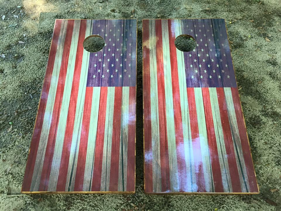 American Usa Flag Cornhole Set With Bean Bags Corn Hole