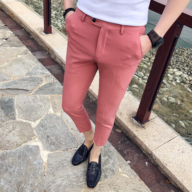 2019 Men Shorts Slim Fit Front Summer Casual Solid Color Pants Trousers