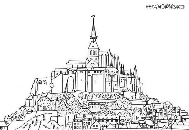 Mont Saint Michel Coloring Page Coloring Pages Free Online