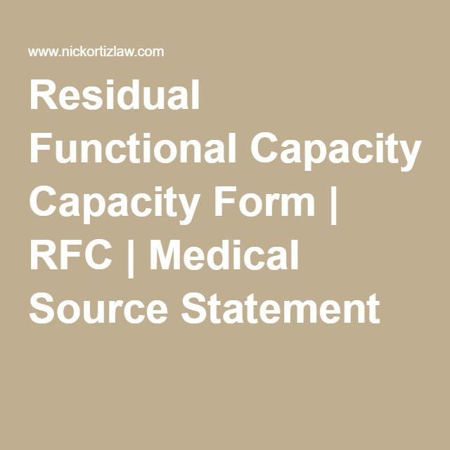 Residual Functional Capacity Form  Rfc  Medical Source Statement