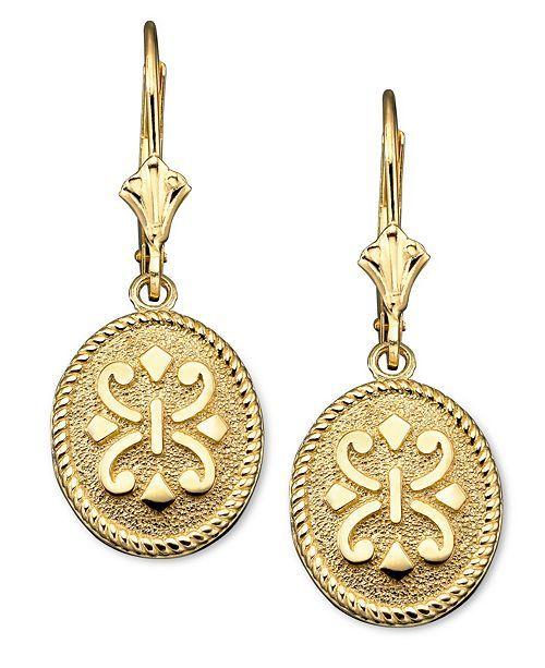 Macy's 14k Gold Earrings, Oval Etruscan & Reviews ...