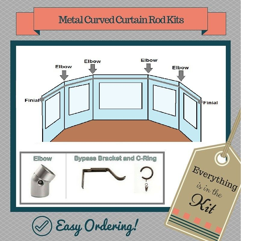 9 curved curtain rod for bay windows