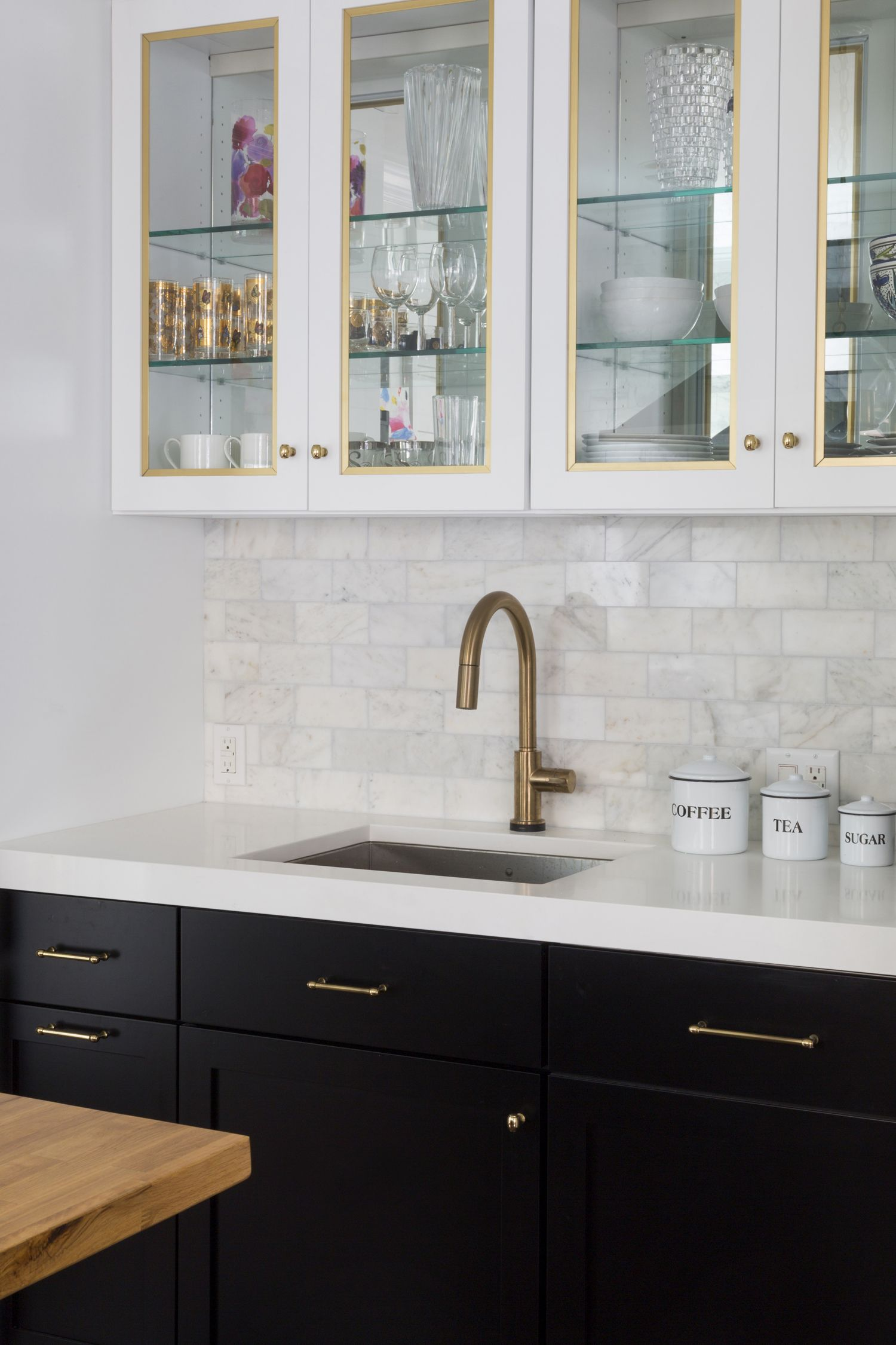 White Glass Cabinets with gold trim mirrored backs glass ...