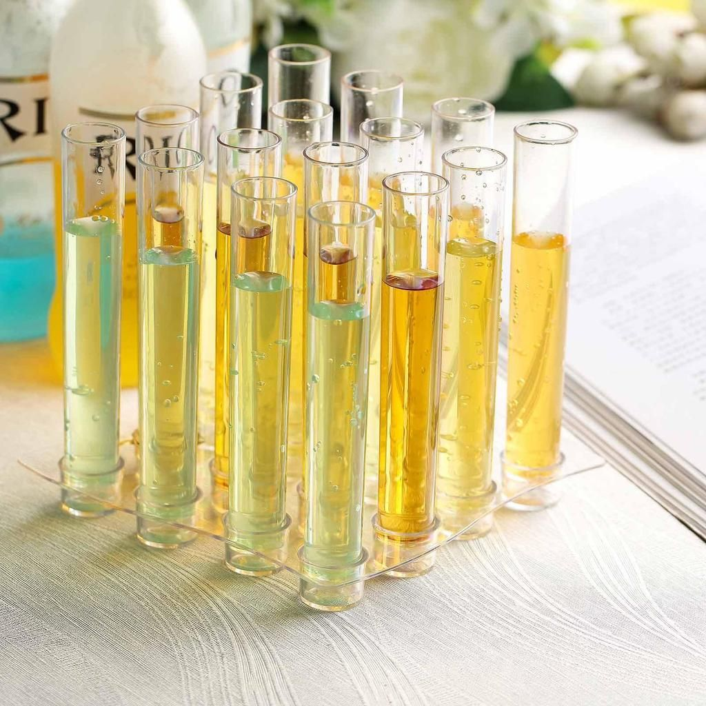 16 Pack Clear 1oz Test Tube Disposable Shot Glasses With