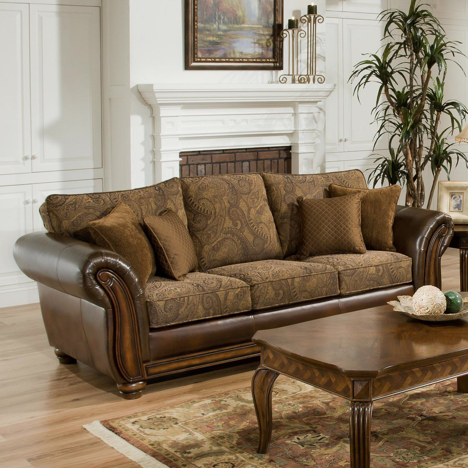 Have To Have It Simmons Zephyr Vintage Leather And Chenille Sofa With Accent Pillows