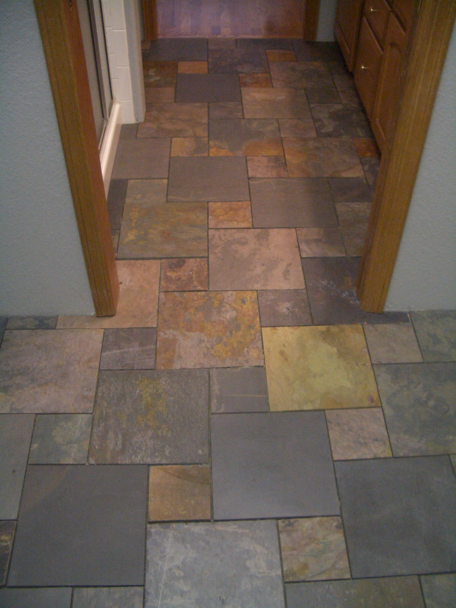 Bathroom floor tile ideas recently finished a bathroom laundry tile art a fort collins co tile and stone contractor posts photos and a description of a slate bathroom floor installed with a pinwheel pattern dailygadgetfo Image collections