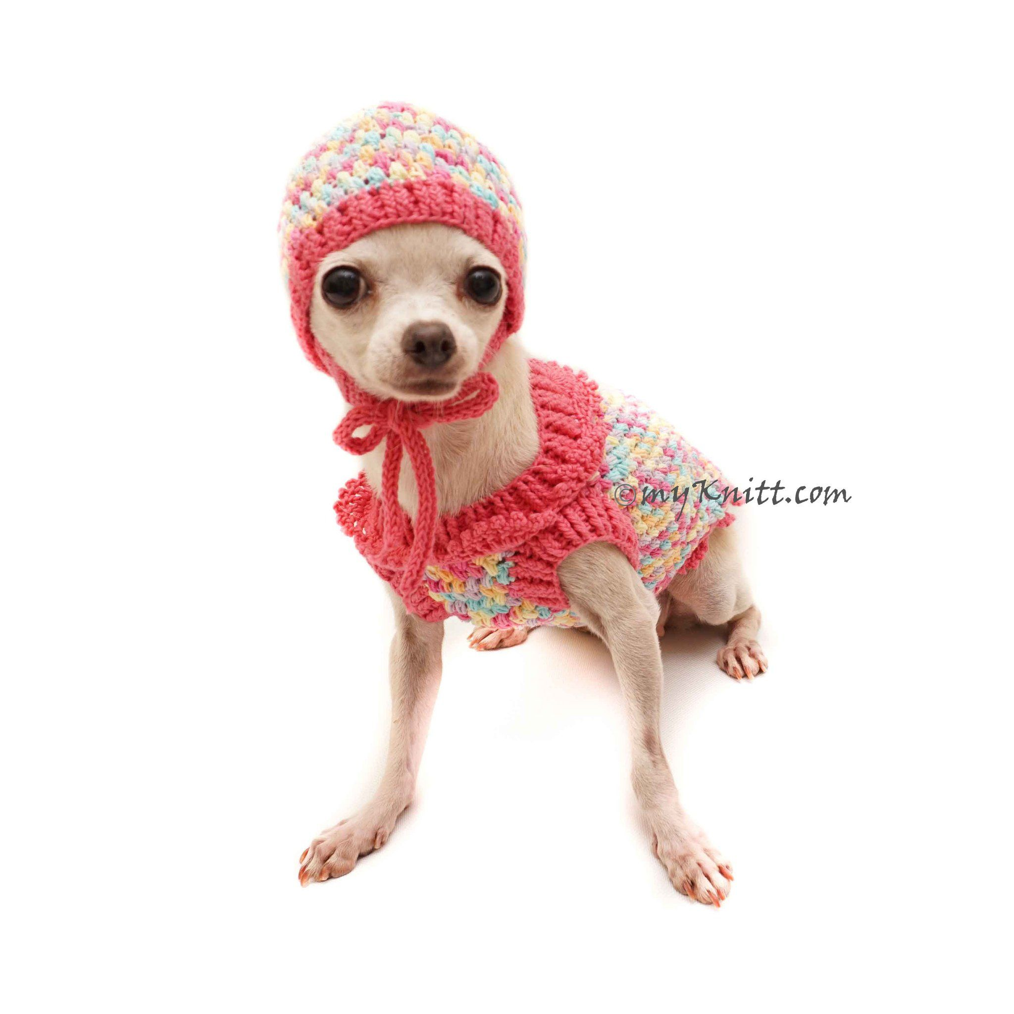 Cute Pink Dog Winter Clothes, Rainbow Dog Sweaters with Matching Dog ...