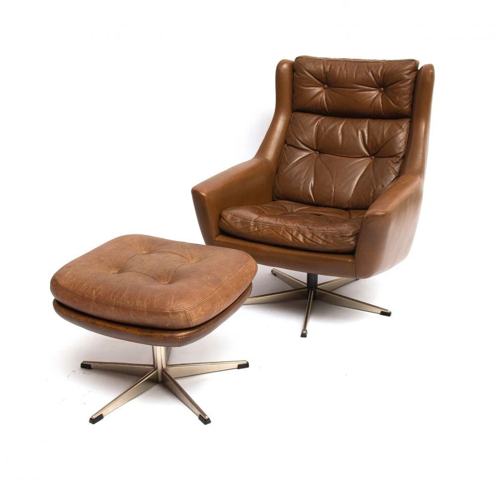 For sale scandinavian modern reclining leather lounge