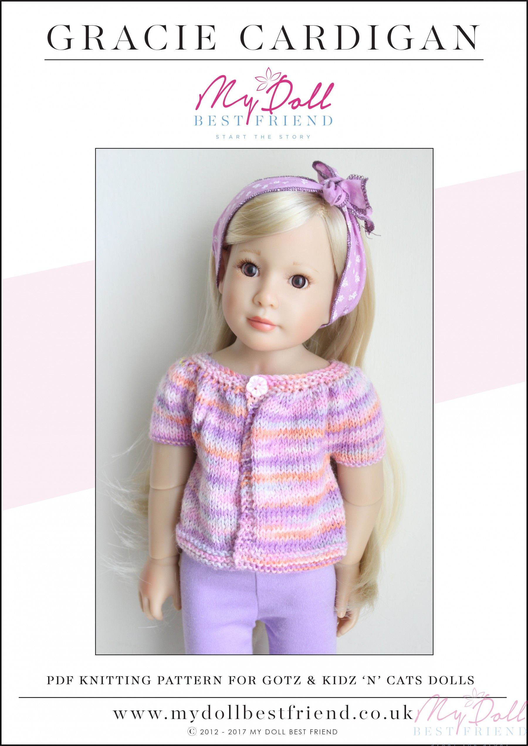 8f4d3a5d3 Doll Cardigan Knitting Pattern 45-50cm  Gracie Cardigan