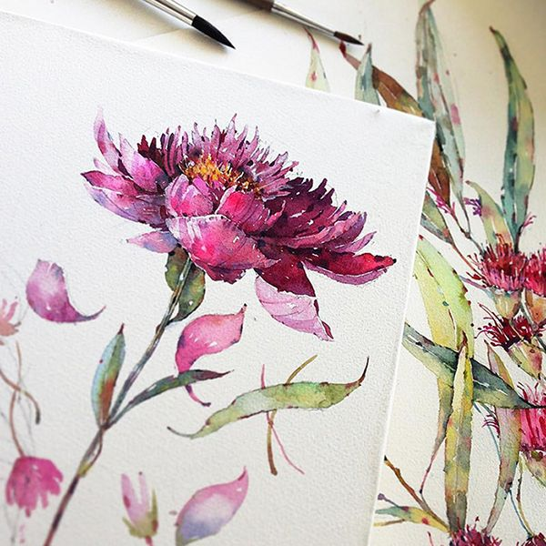 Flowers Sketchbook By Katerina Pytina On Behance Watercolor Rose