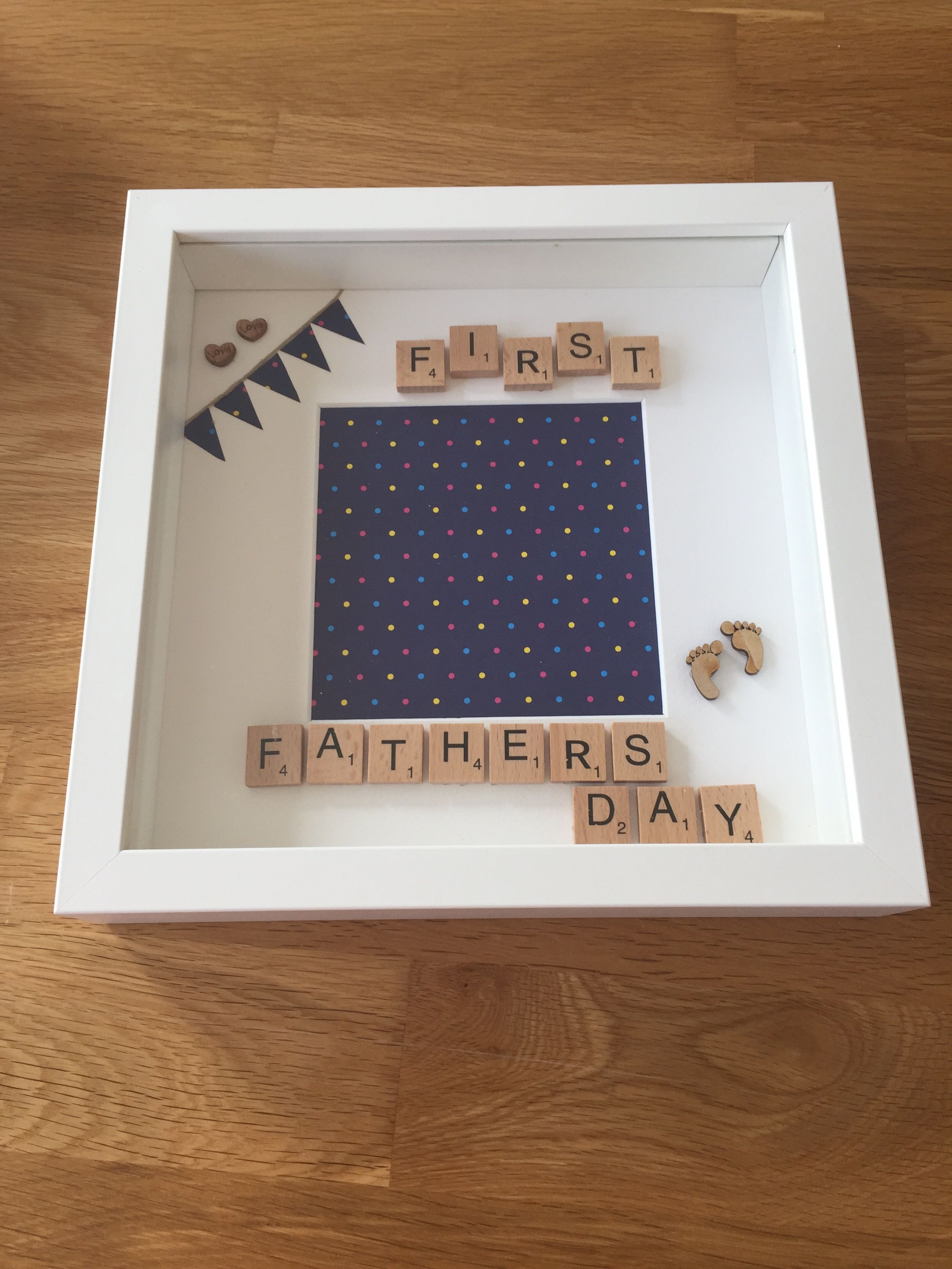 First fathers day personalised memory frame handmade first fathers day personalised memory frame handmade scrabble letters 1500 plus sciox Image collections