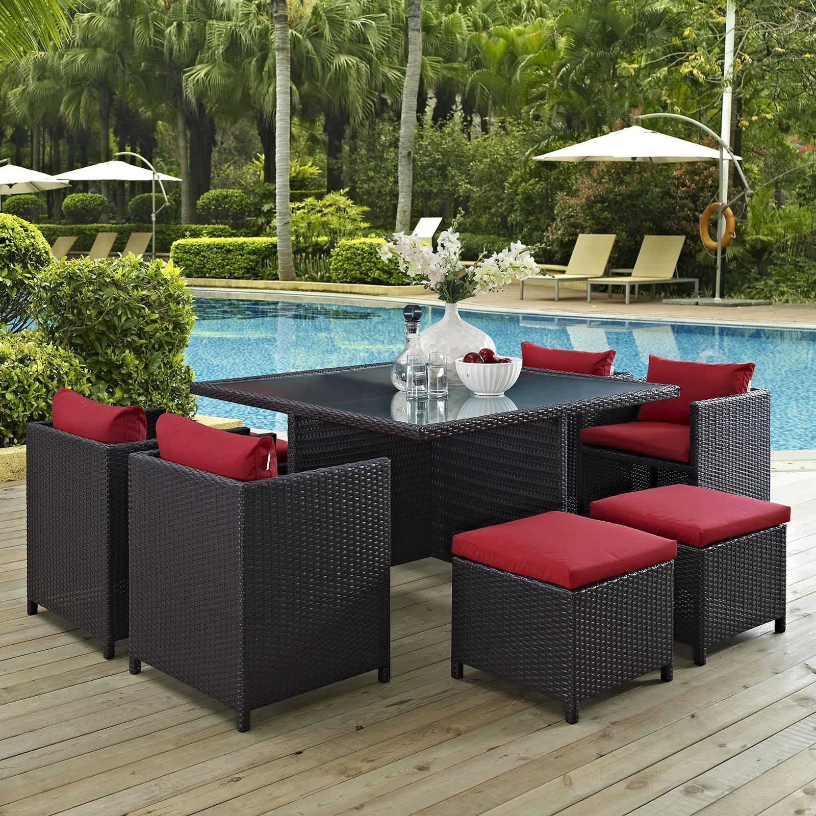 Modway Furniture Modern Inverse 9 Piece Outdoor Patio Dining Set