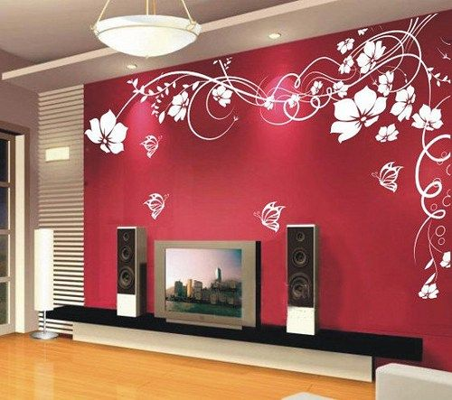 Vinyl Wall Decal romantic flower vines flowers butterfly girl floral ...