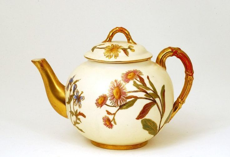 Antique Royal Worcester Teapot Floral Pattern