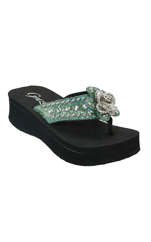 9e7f7fb55c95d Grazie Ladies Solstice Turquoise Snake Print with Rose Concho Rhinestone Flip  Flops