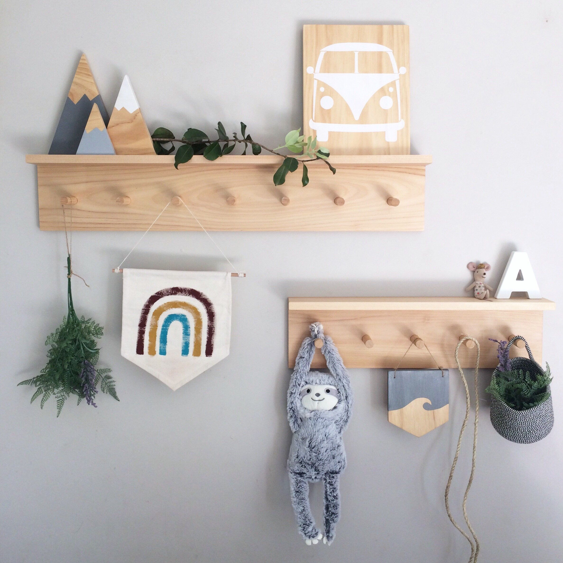 Peg Shelf Peg Rail With Shelf Timber Peg Hooks Wood Coat Hooks Wooden Towel Hooks Kids Hooks Nursery Hooks Scandinavian Style Nursery Shelves Peg Hooks Timber Shelves