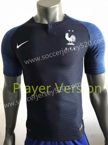 8b84adafaa1 Player Version 2018-19 France Two Stars Home Blue Thailand Soccer Jersey AAA