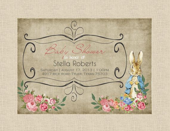 peter rabbit invitation sample - baby shower/birthday - vintage, Baby shower invitations