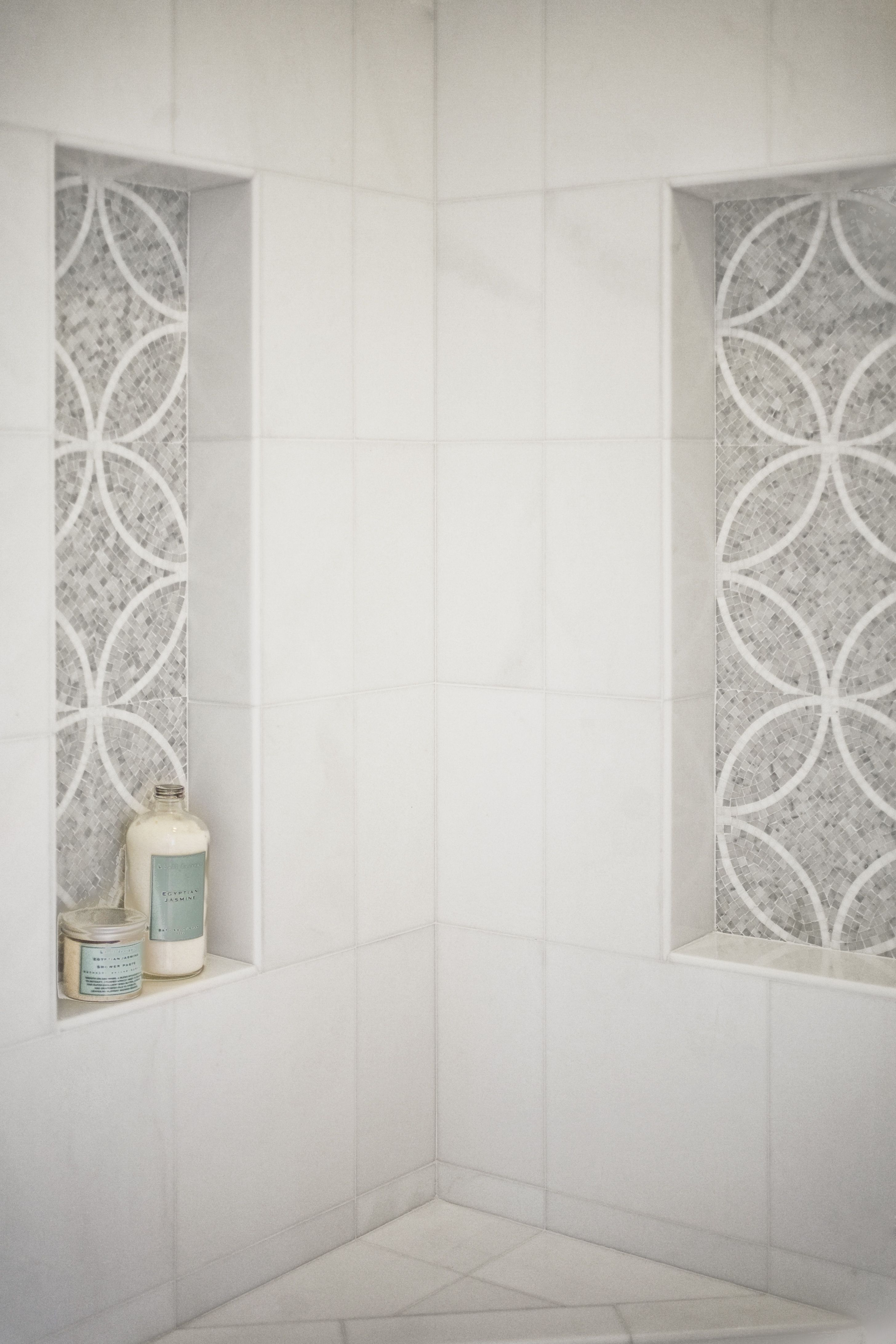 Master Bathroom Shower The Wall Tile Akdo Thassos And Niche Design