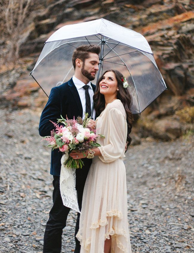 Whimsical Bridal Fashion Ideas Rainy Wedding Rain Wedding
