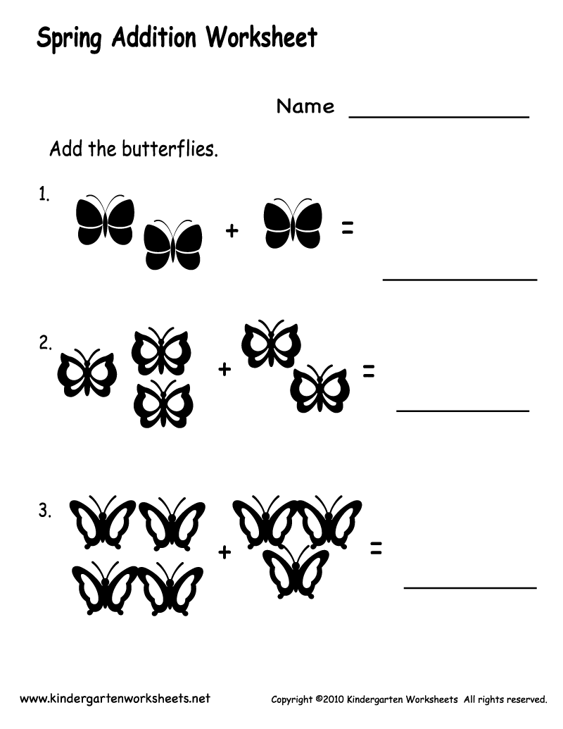 Kindergarten Spring Addition Worksheet Printable | Spring Worksheets ...