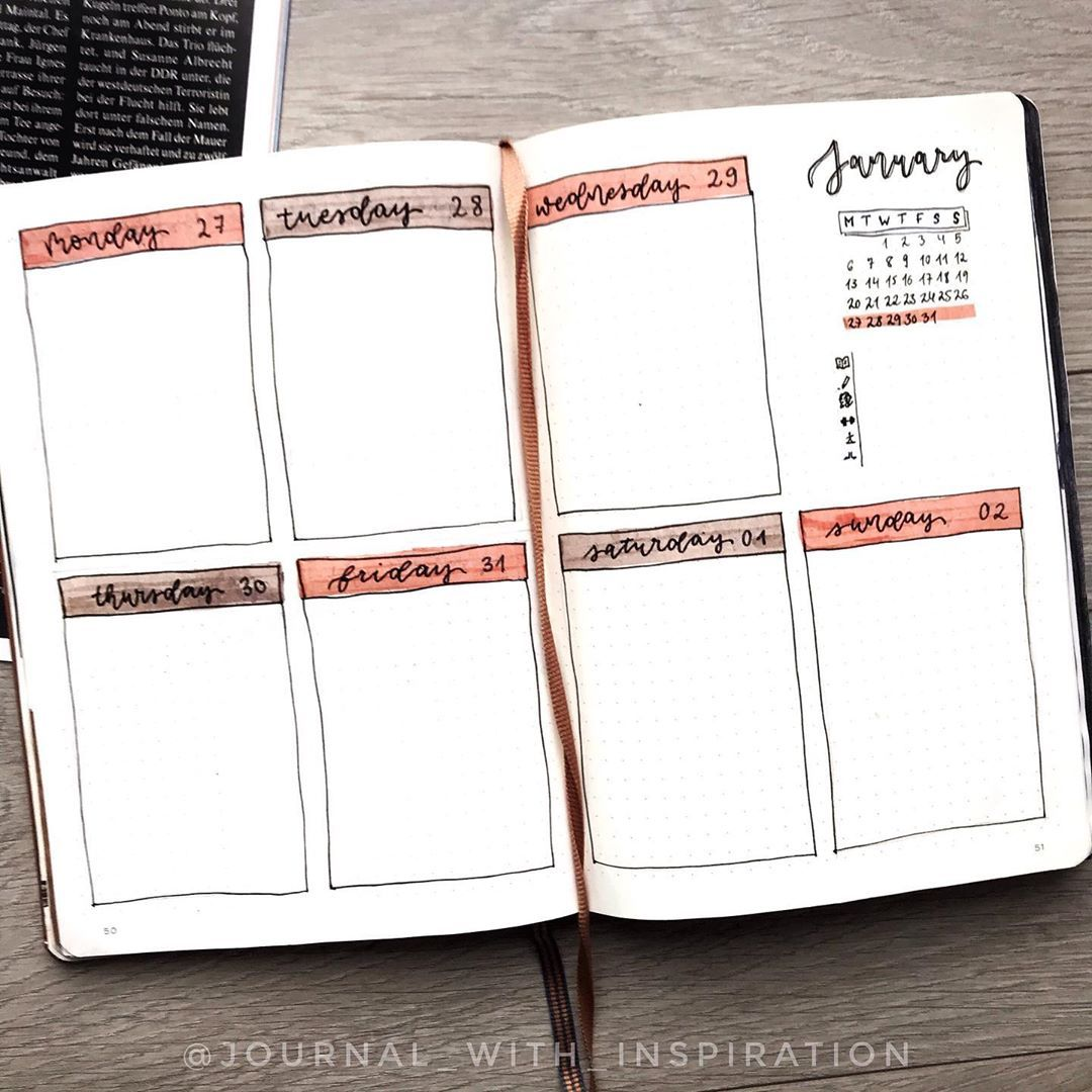 "Bullet Journal | Adele on Instagram: ""Last week of January � Pretty simple but practical layout. One of my favourites �� • • • • Why do I always have trouble posting weeklies?…"""
