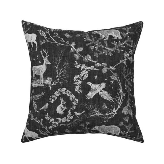 Forest Animals Throw Pillow - Woodland Winter Toile  by nouveau_bohemian - Monochrome  Toile Owls 18