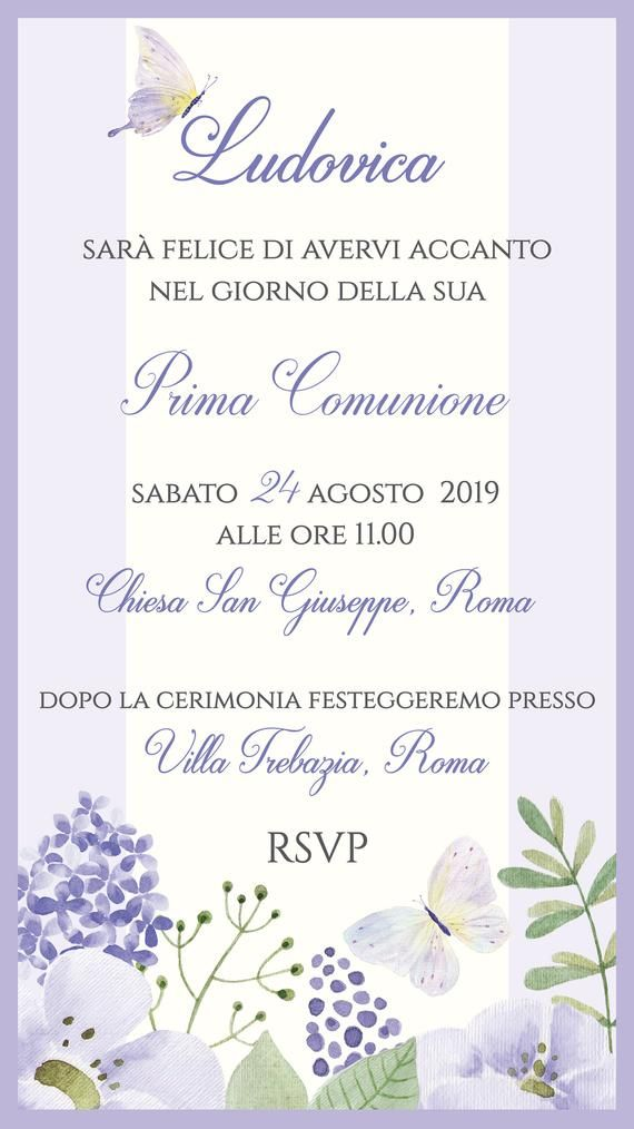 Invito Whatsapp Prima Comunione Bambina Invito Prima Comunione Per Whatsapp Invito Lilla Prima Comunione Diy Baby Stuff Place Card Holders Event Planning