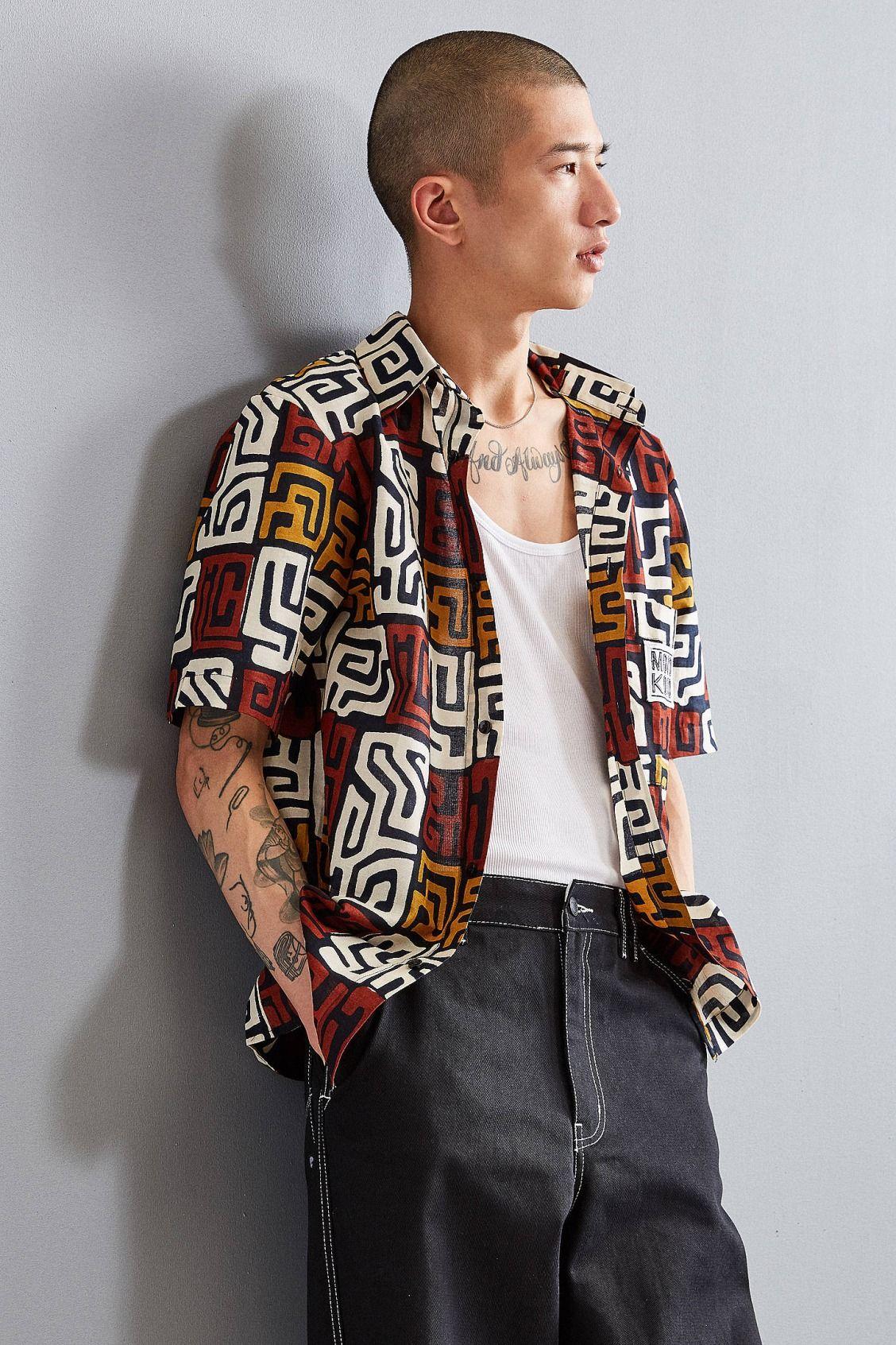 Flannel shirt with shorts  Mojo Kojo Maz Print Short Sleeve ButtonDown Shirt  New Arrivals