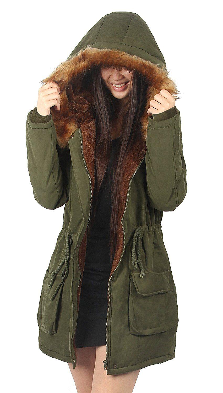 Amazon.com  iLoveSIA abrigo parka con capucha para mujer  Clothing ... fb919b7b9200