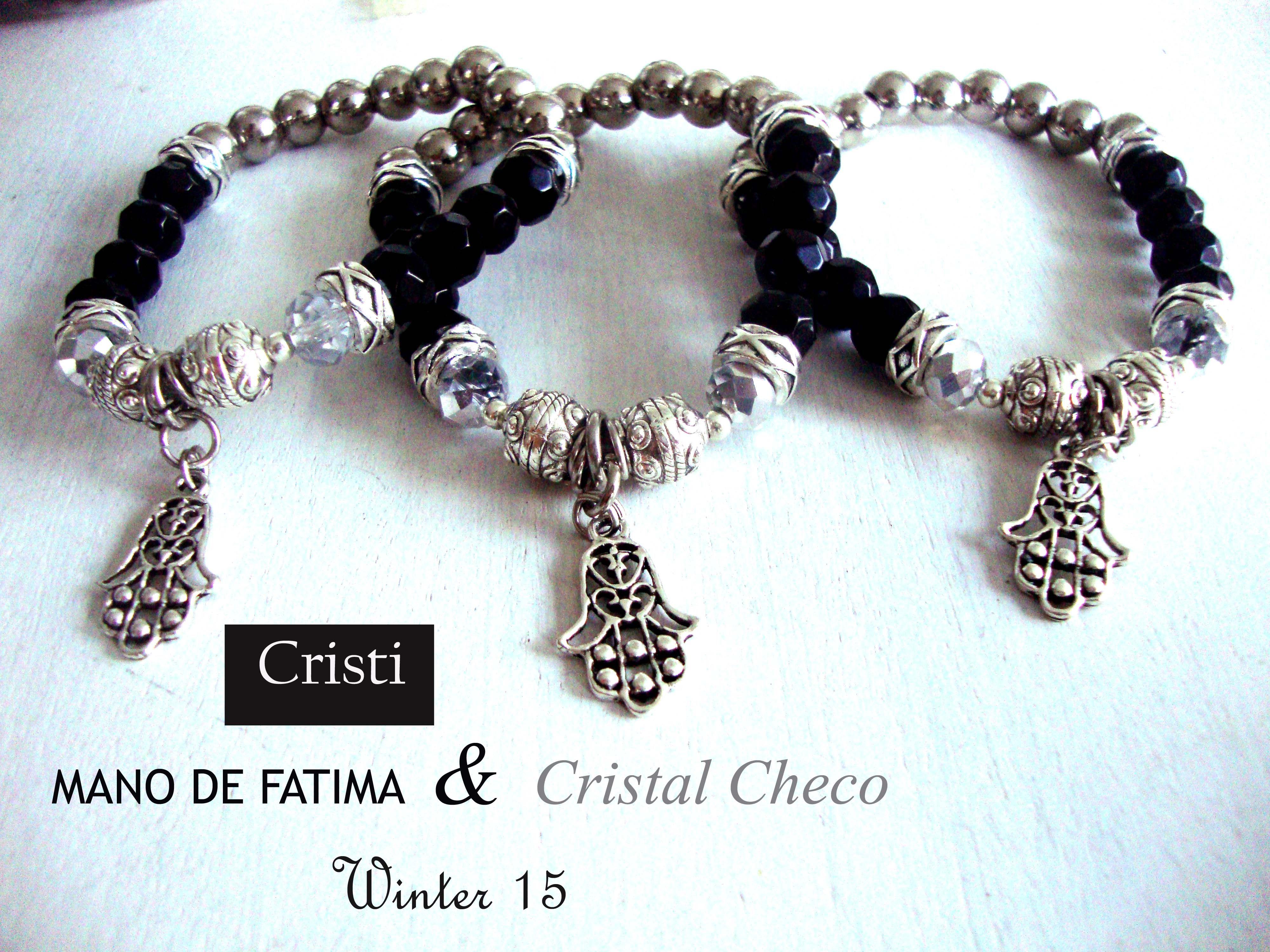 2f8fcf17102d Pulseras elasticas con cristales checos u mano de fatima ...