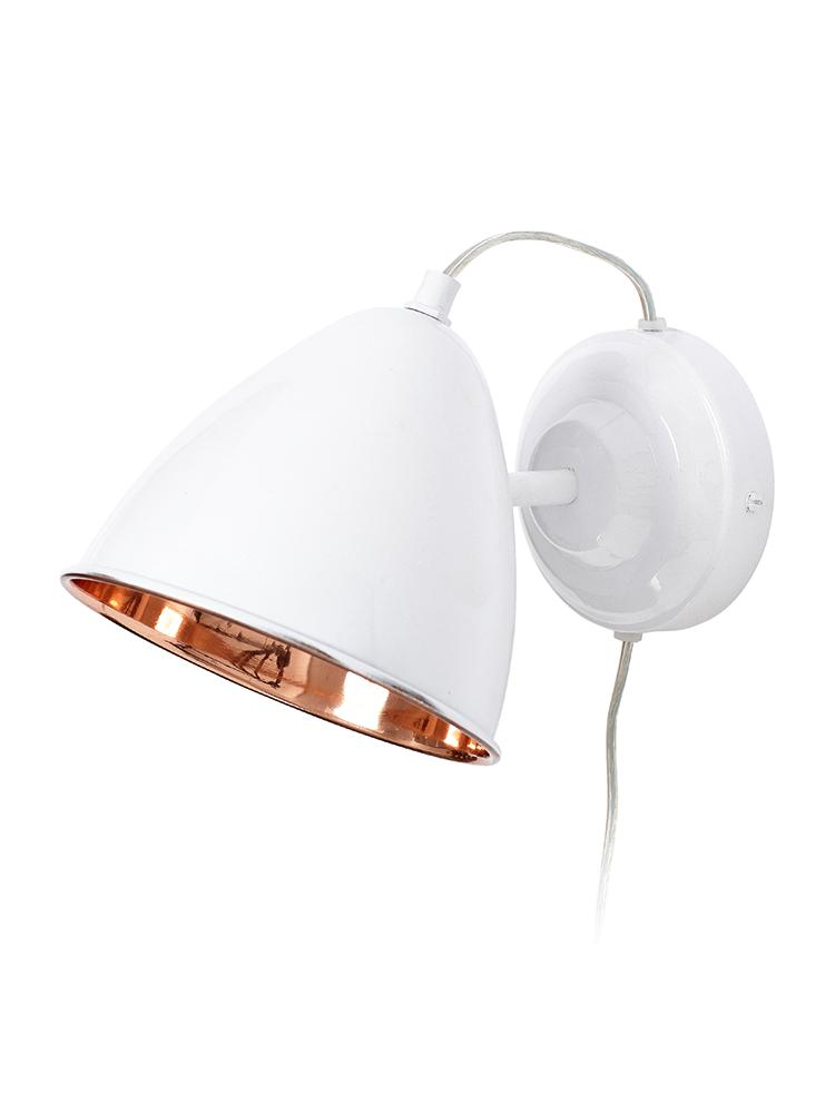 white and copper wall light cox cox a b o d e. Black Bedroom Furniture Sets. Home Design Ideas