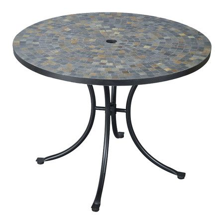 Outdoor Dining Table With A Slate Tile Inlay And Center Umbrella Opening Product Dining Tableconst Steel Dining Table Round Patio Table Outdoor Dining Table