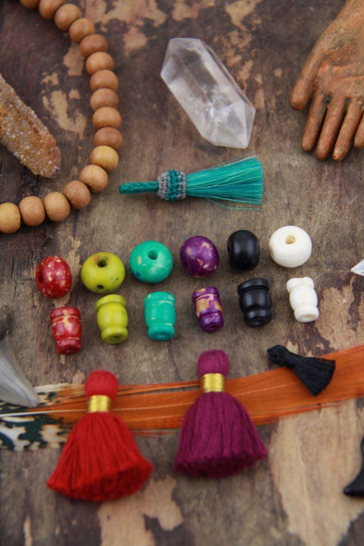 12mm Bone Guru Beads, Colorful, 3 sets (6 beads), Yoga Mala Bracelet or Jewelry Making Supplies, Natural Bohemian, Boho Zen Style