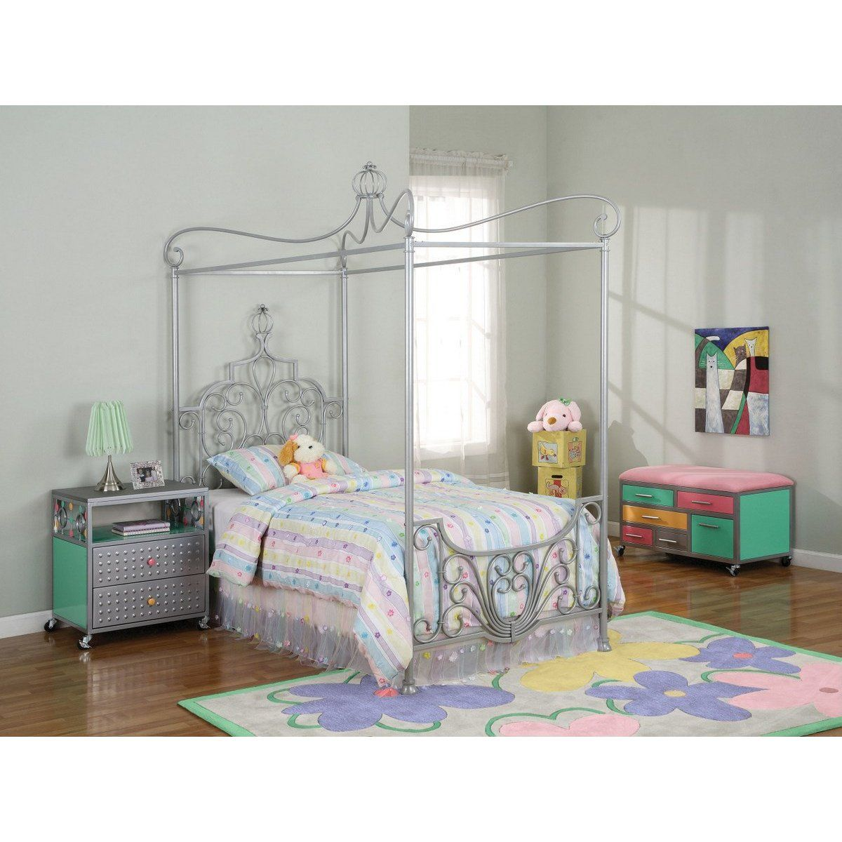 Metal Princess Twin Size Canopy Bed Girls bed canopy
