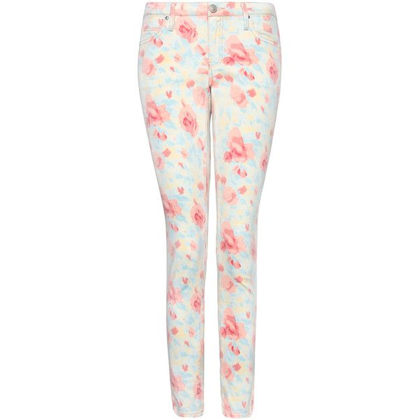 MANGO Floral print super slim jeans ($60) ❤ liked on Polyvore featuring jeans, pants, bottoms, pantalones, mint, flower print jeans, mango jeans, floral printed jeans, mint green skinny jeans and floral print jeans