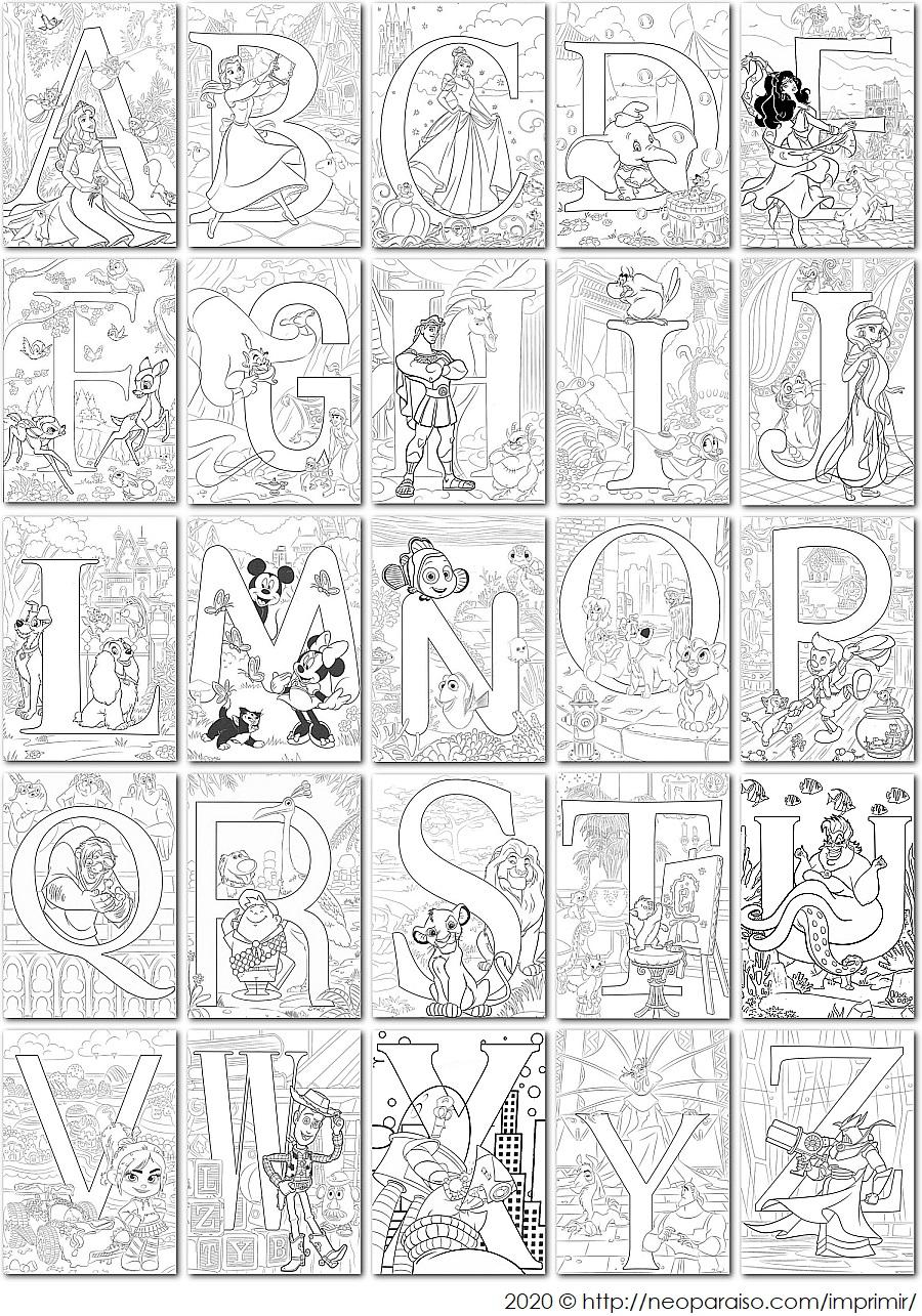 Abecedario Completo De Disney Letras Para Colorear Dibujos De Letras Para Imprimir Y Pintar Dib Colorear Disney Letras De Disney Letras Disney Para Imprimir