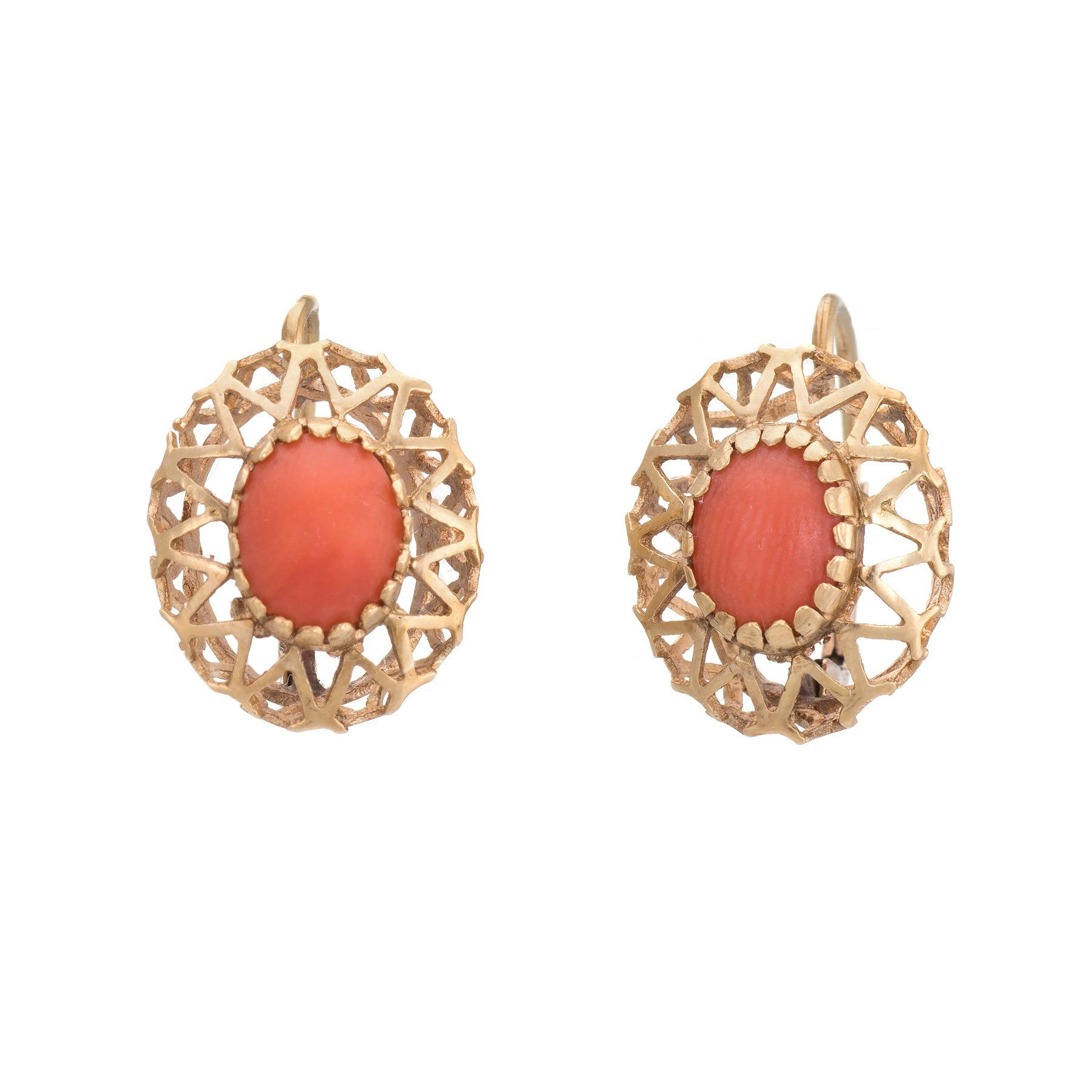 3b3c5d90e Vintage Red Coral Earrings Drops 10k Yellow Gold Estate Fine Jewelry  Heirloom