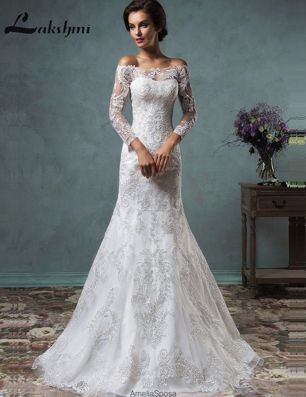 Wedding decorations using tulle october 2018 Elegant Long Sleeve Detachable Wedding Dresses Off Shoulder Lace