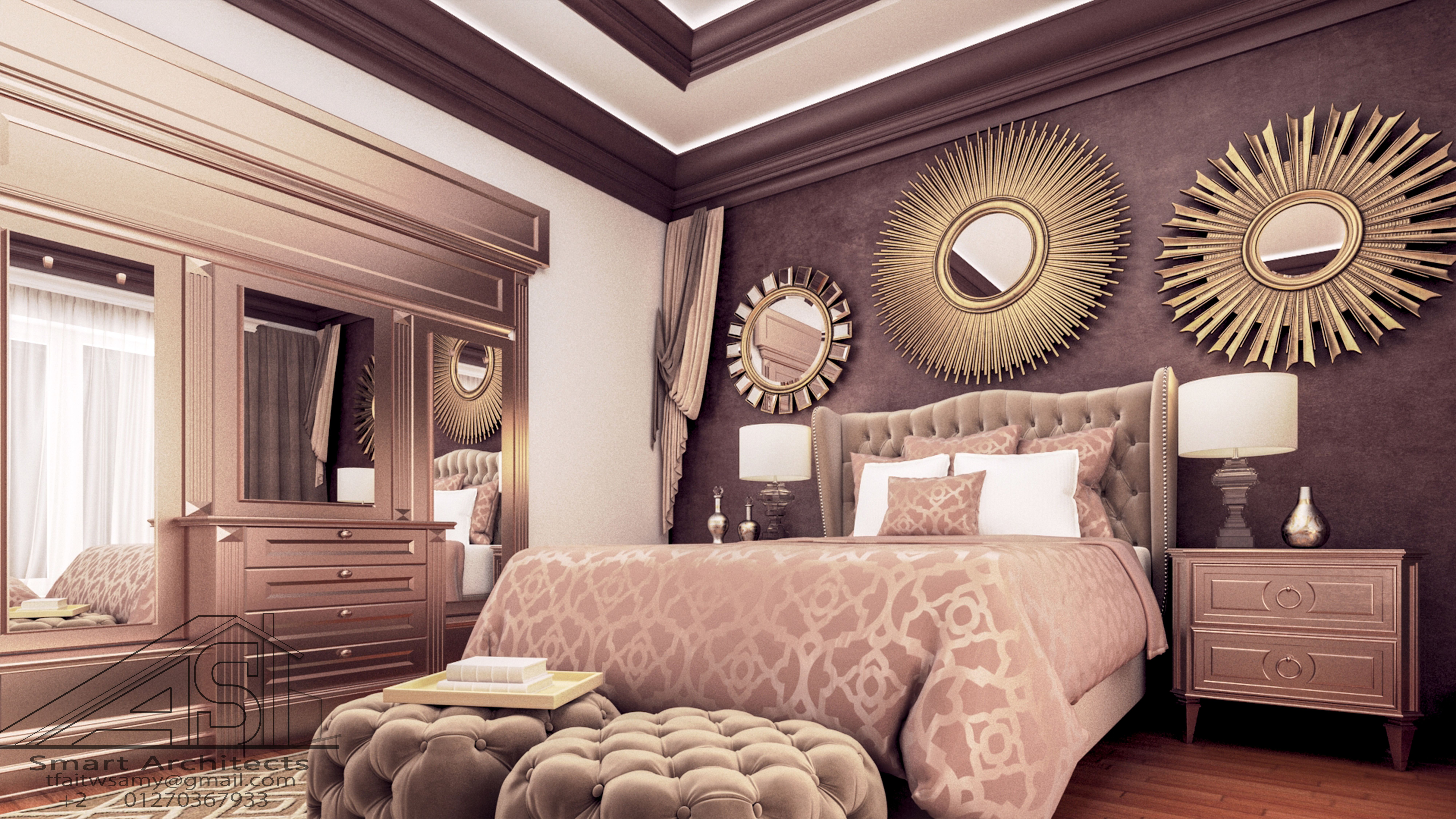 Classic bed room interior design 3d max photoshop