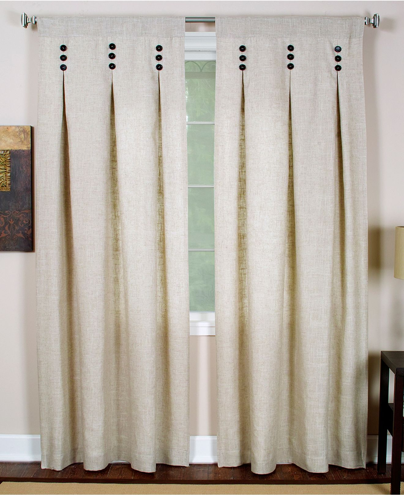 Inverted box pleat with contrast button detail curtains